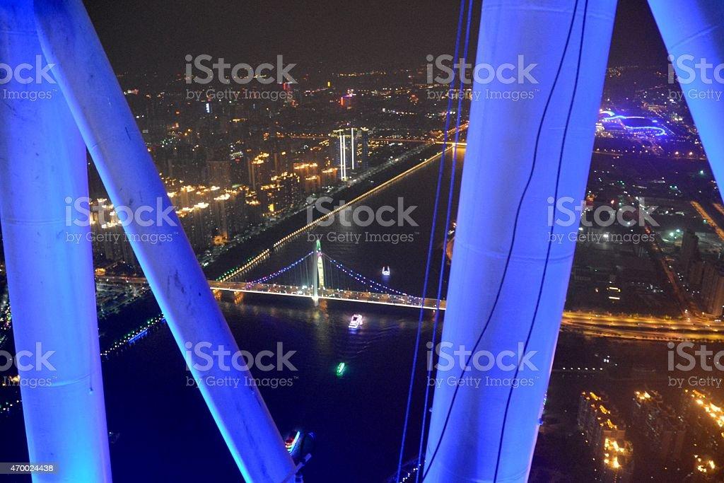Guangzhou cityscape at night, China stock photo