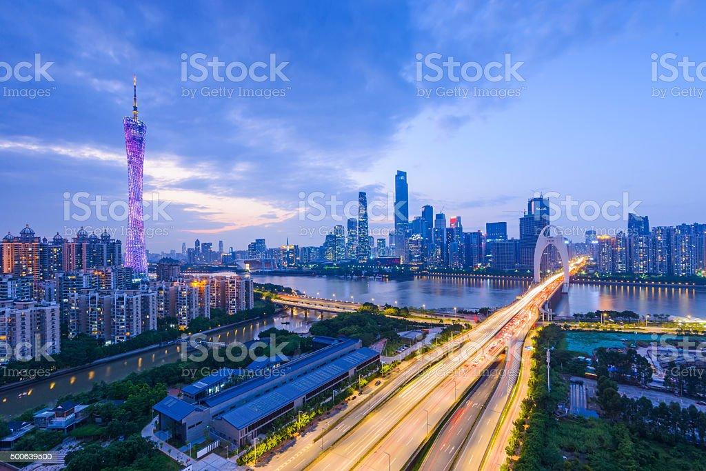 Guangzhou Liede Bridge panorama stock photo