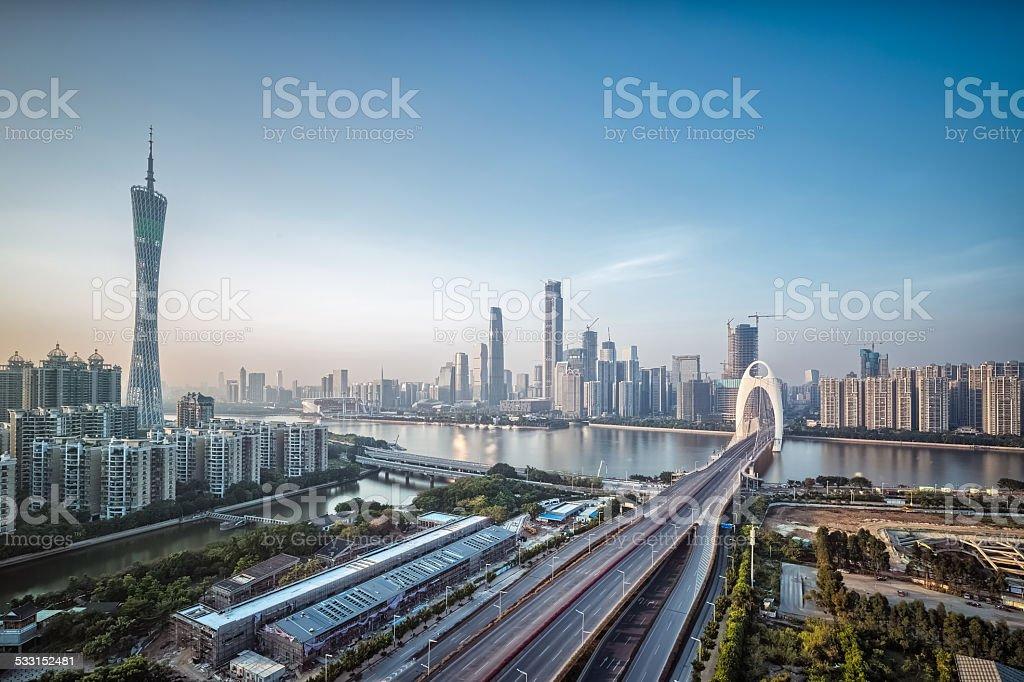 guangzhou skyline at dusk stock photo