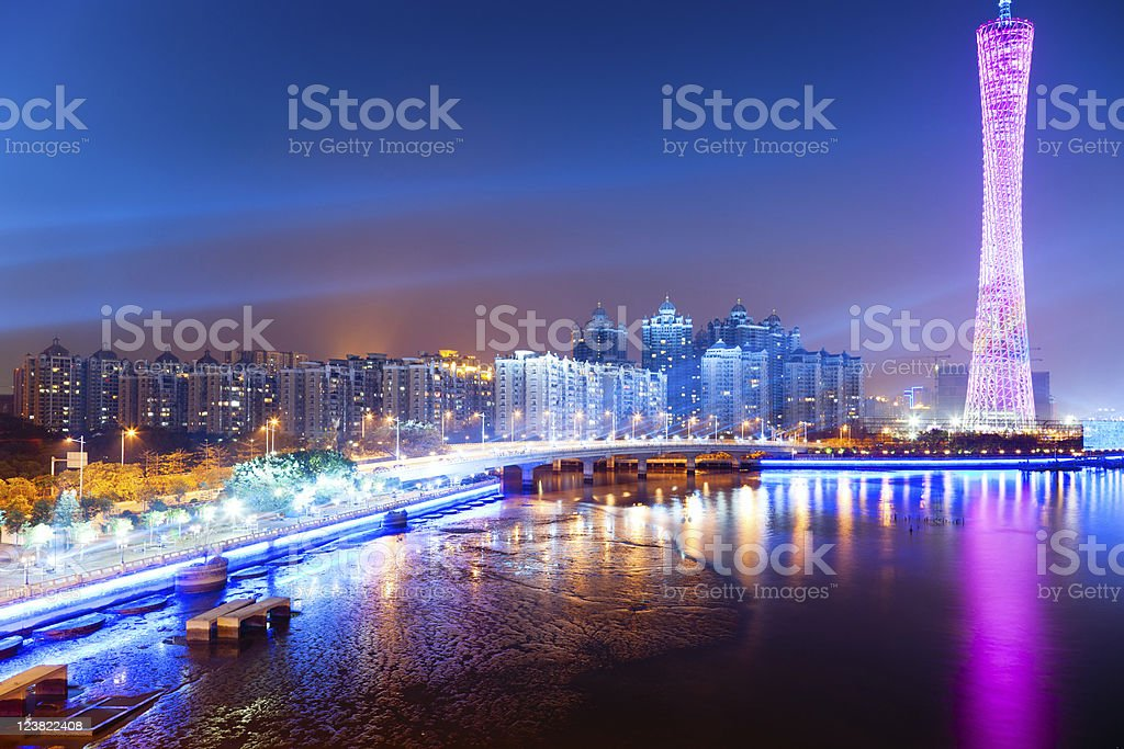 Guangzhou skyline at night including the Canton Tower stock photo