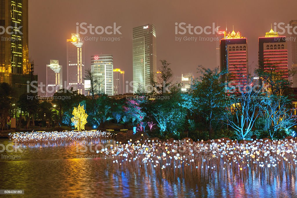 Guangzhou skyscrapers at night,park, Guangzhou, China stock photo
