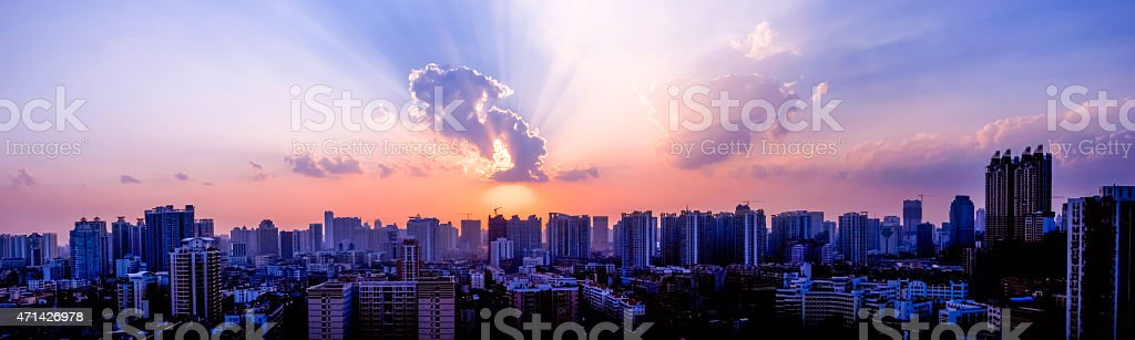 Guangzhou twilight panorama image stock photo