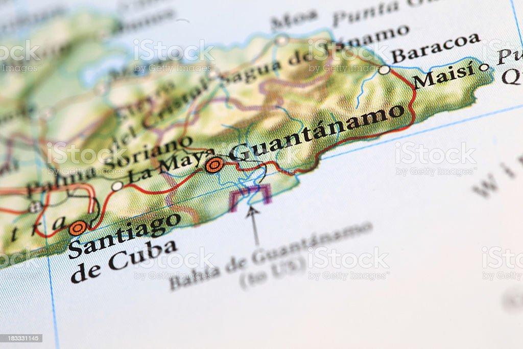 Guantanamo Map , Cuba stock photo