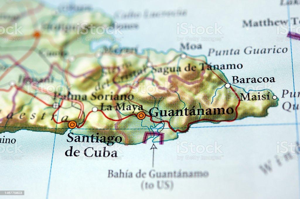 Guantanamo on map royalty-free stock photo