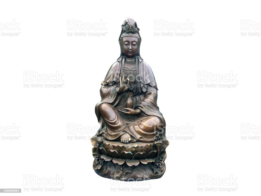 Guanyin brass on isolated stock photo