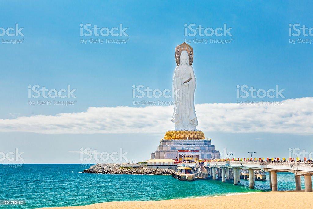 Guanyin statue at seaside, Sanya city, Hainan province, China stock photo