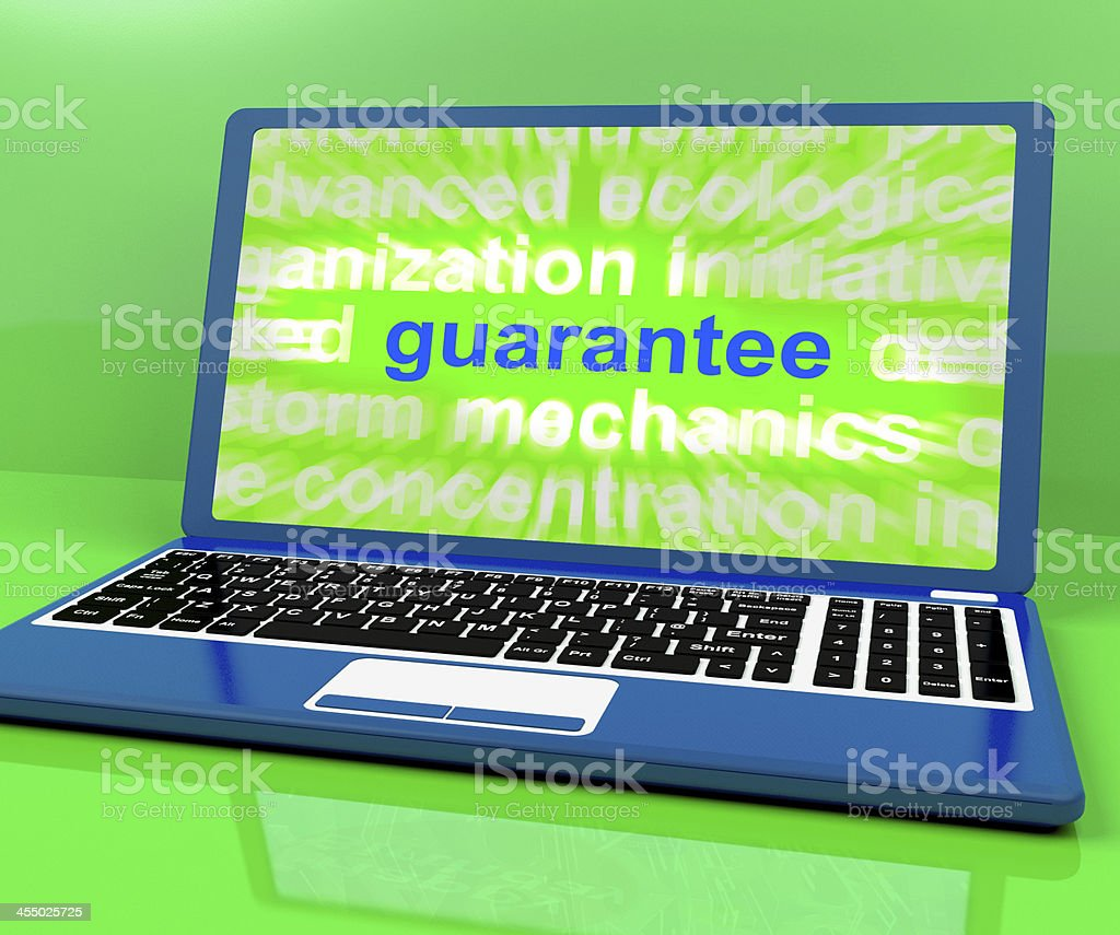 Guarantee Laptop Means Secure Guaranteed Or Assured stock photo