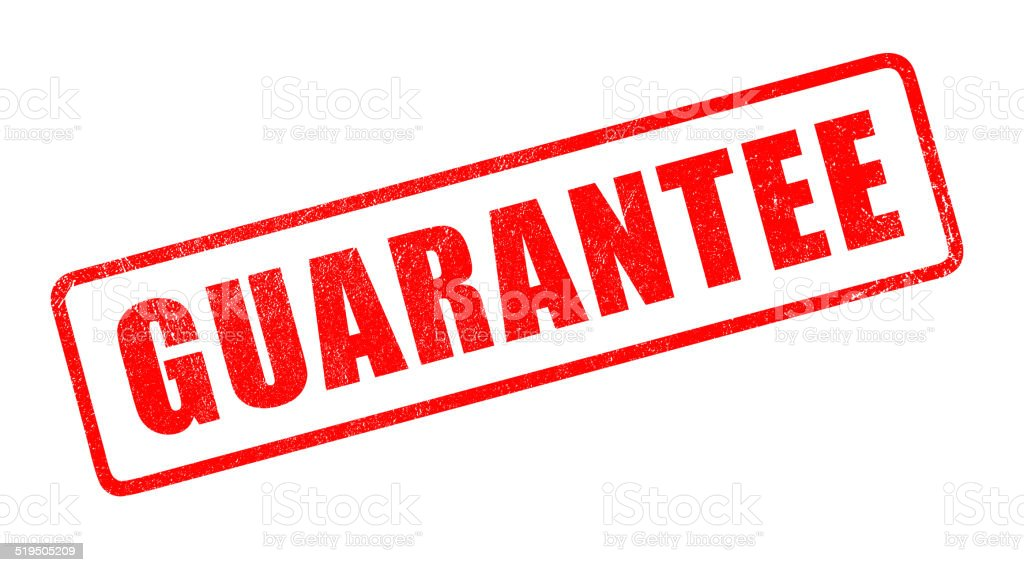 'Guarantee' Red Rubber Stamp stock photo