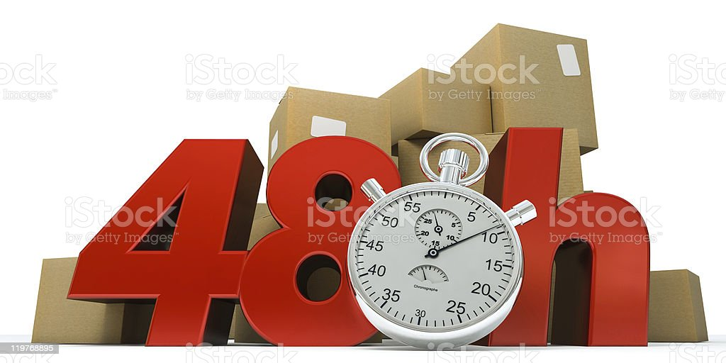 guaranteed delivery in 48 hrs stock photo