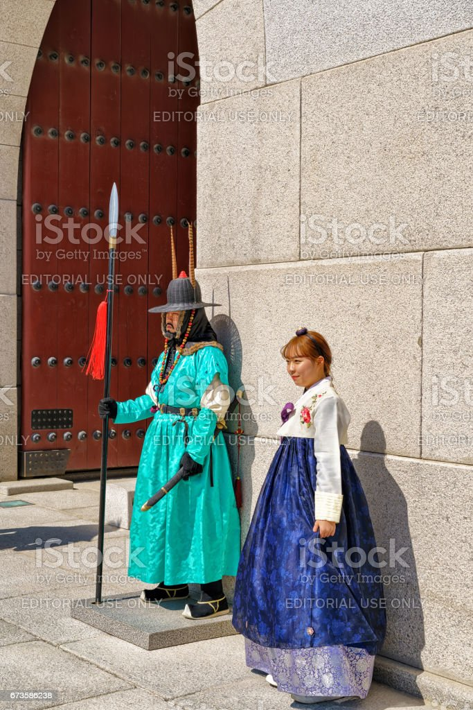 Guard after changing guard ceremony near Gyeongbokgung Palace in Seoul stock photo