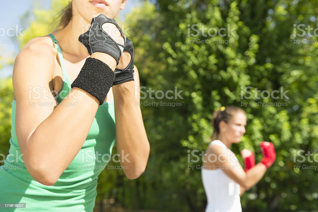 Guard and uppercut stance royalty-free stock photo