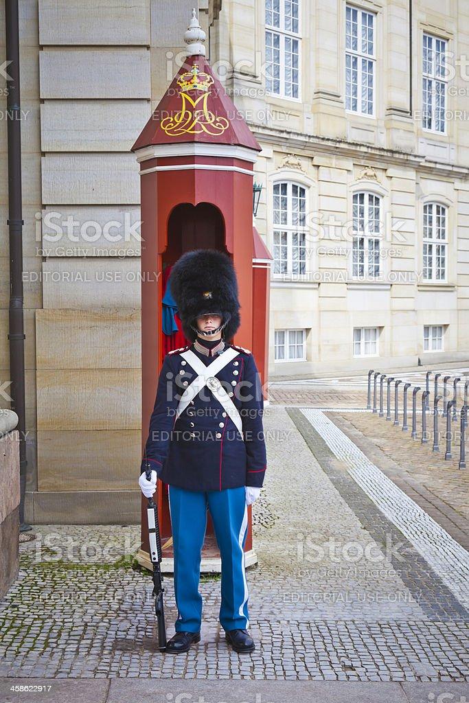 Guard at Amalienborg Palace Copenhagen Denmark stock photo
