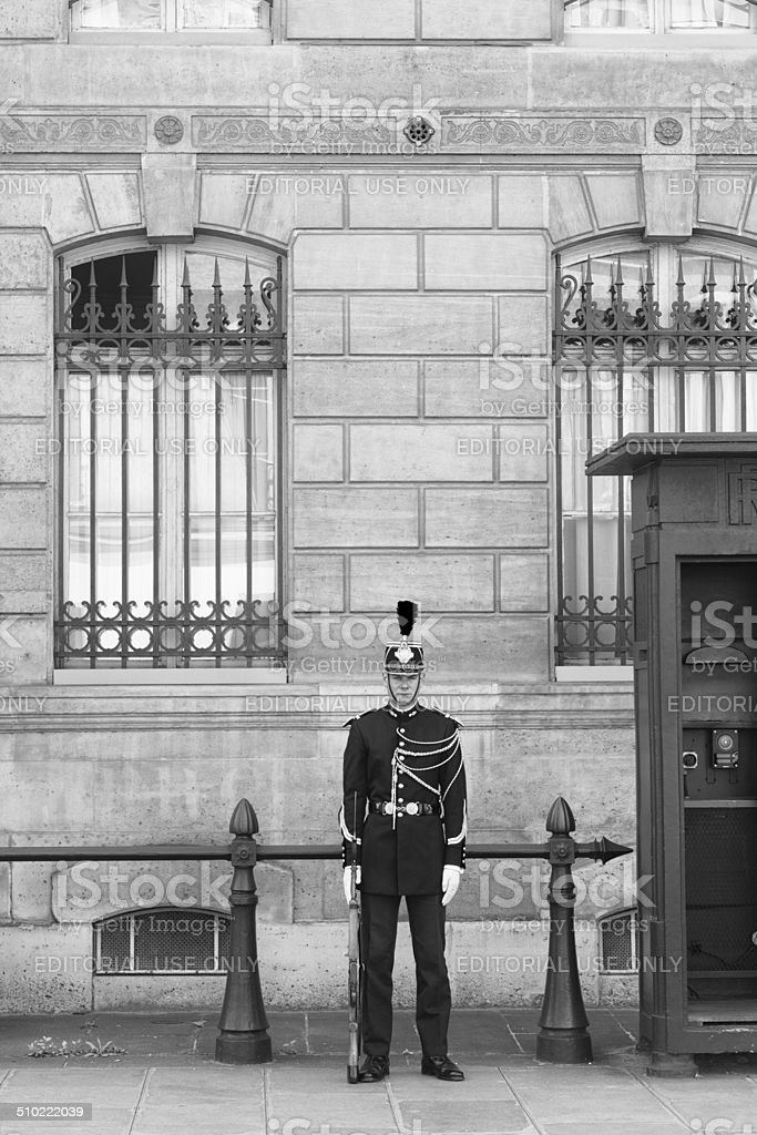 Guard at Post Outside Elysee Palace, Paris France stock photo