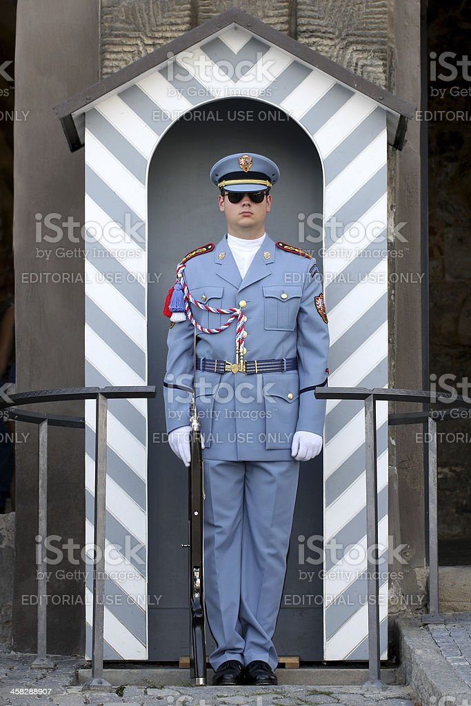 Guard at Prague Castle royalty-free stock photo