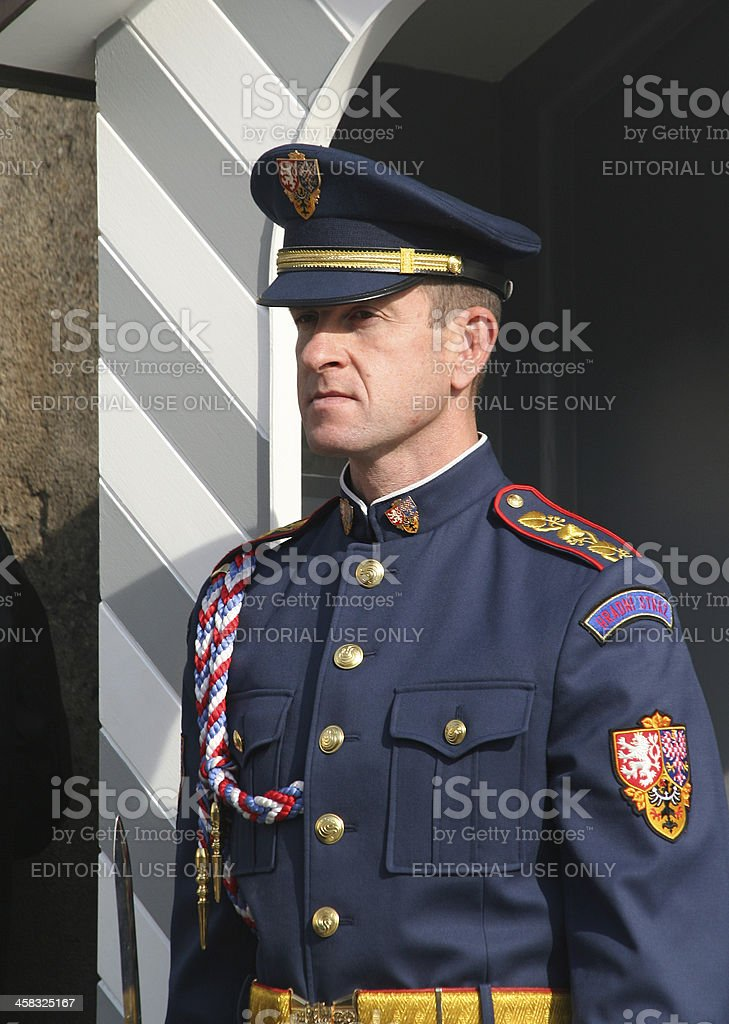 Guard at Prague Castle royalty-free stock photo