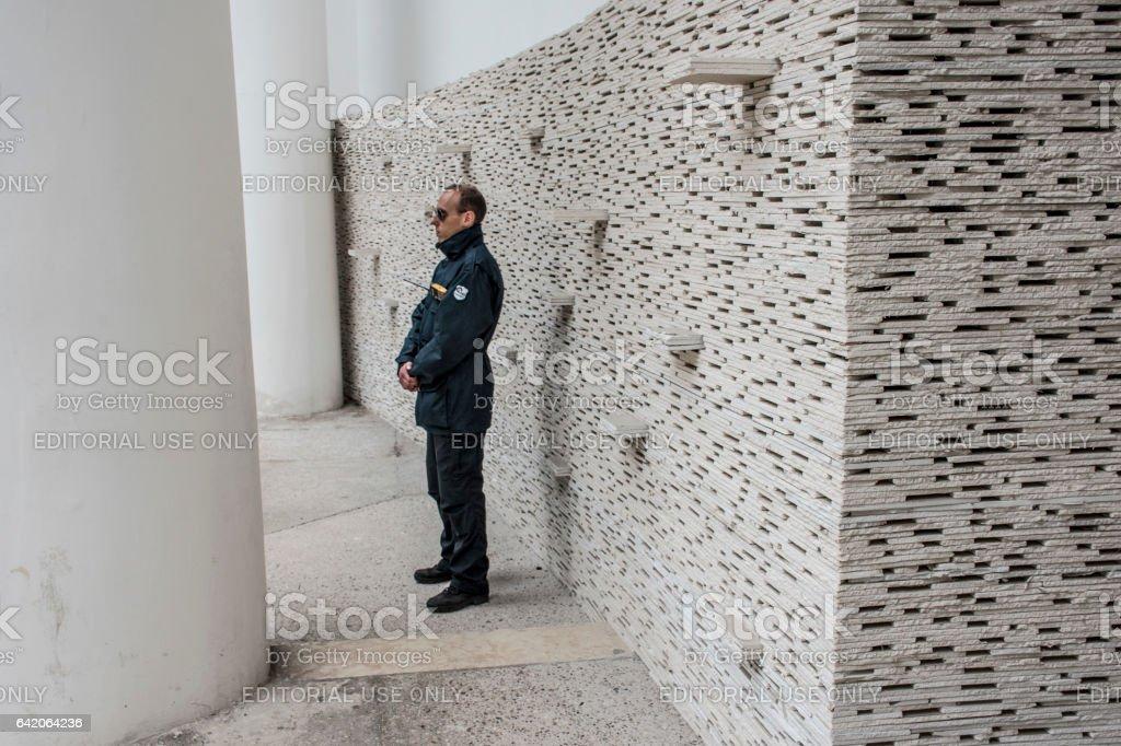 Guard at the 2016 venice Architecture Biennale. stock photo
