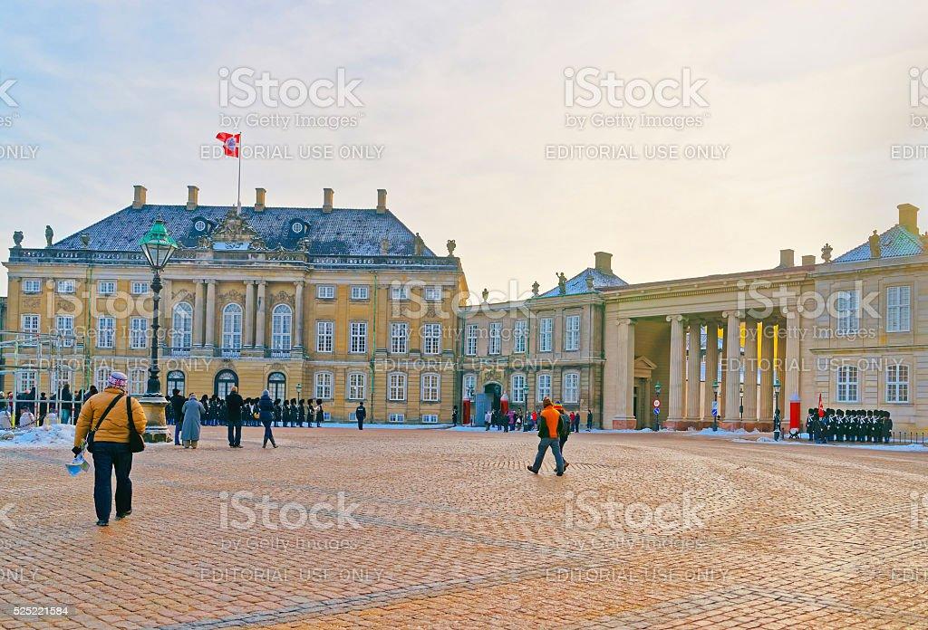 Guard change at Amalienborg of Copenhagen in winter stock photo