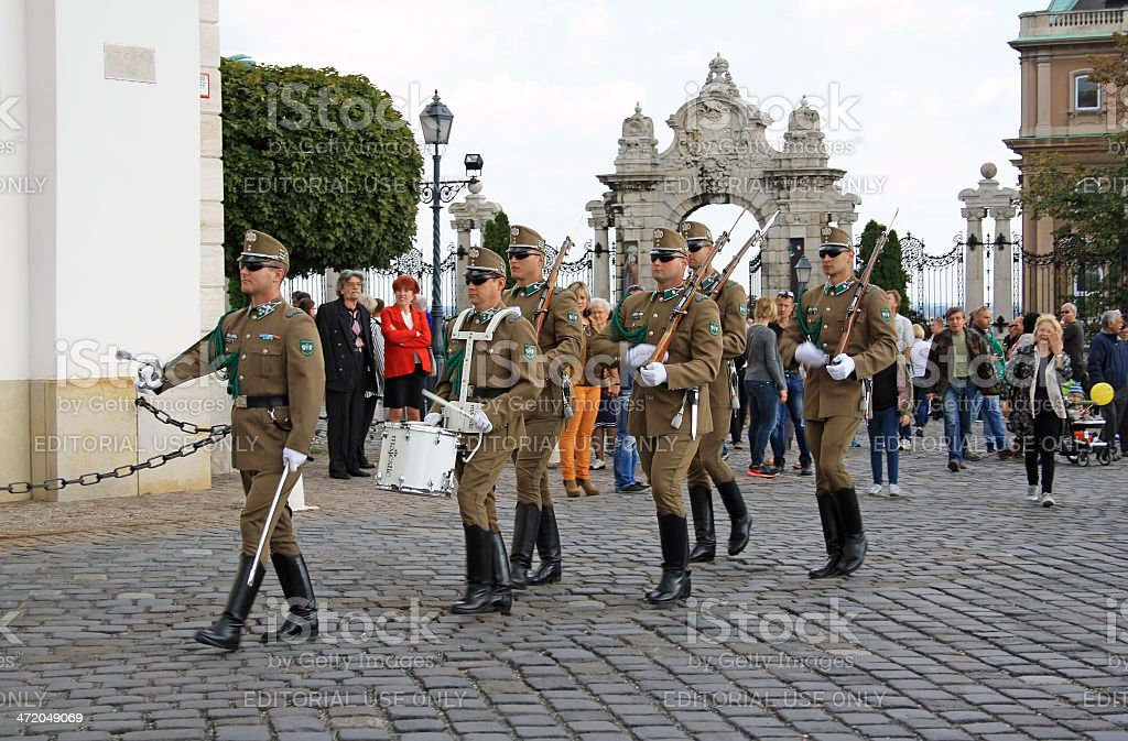 Guard change ceremony in Budapest royalty-free stock photo