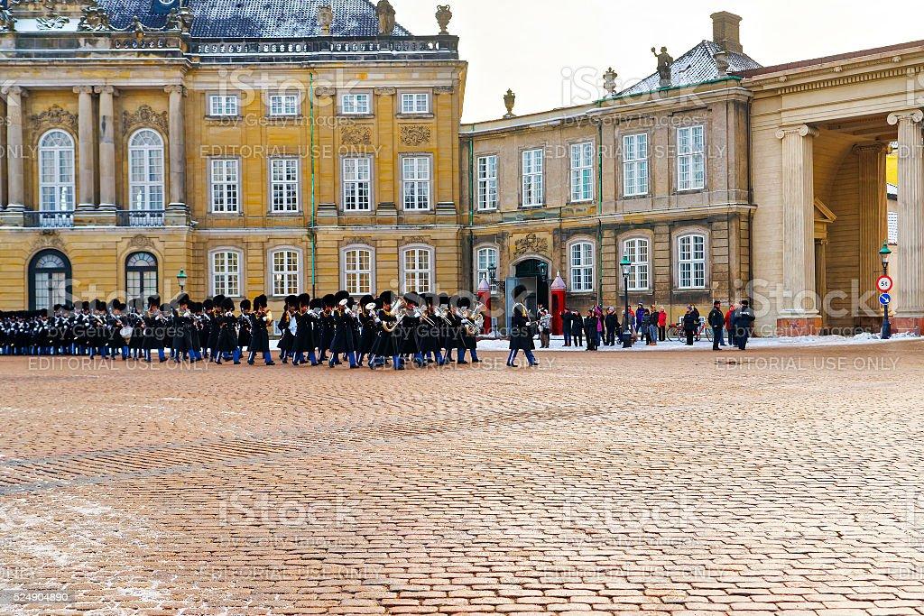 Guard change in Amalienborg in Copenhagen in winter stock photo