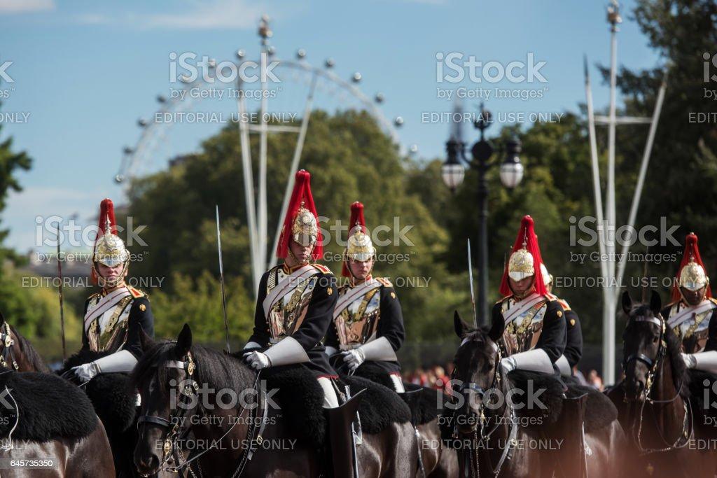 Guard changing ceremony at Buckingham Palace, United Kingdom, Europe stock photo