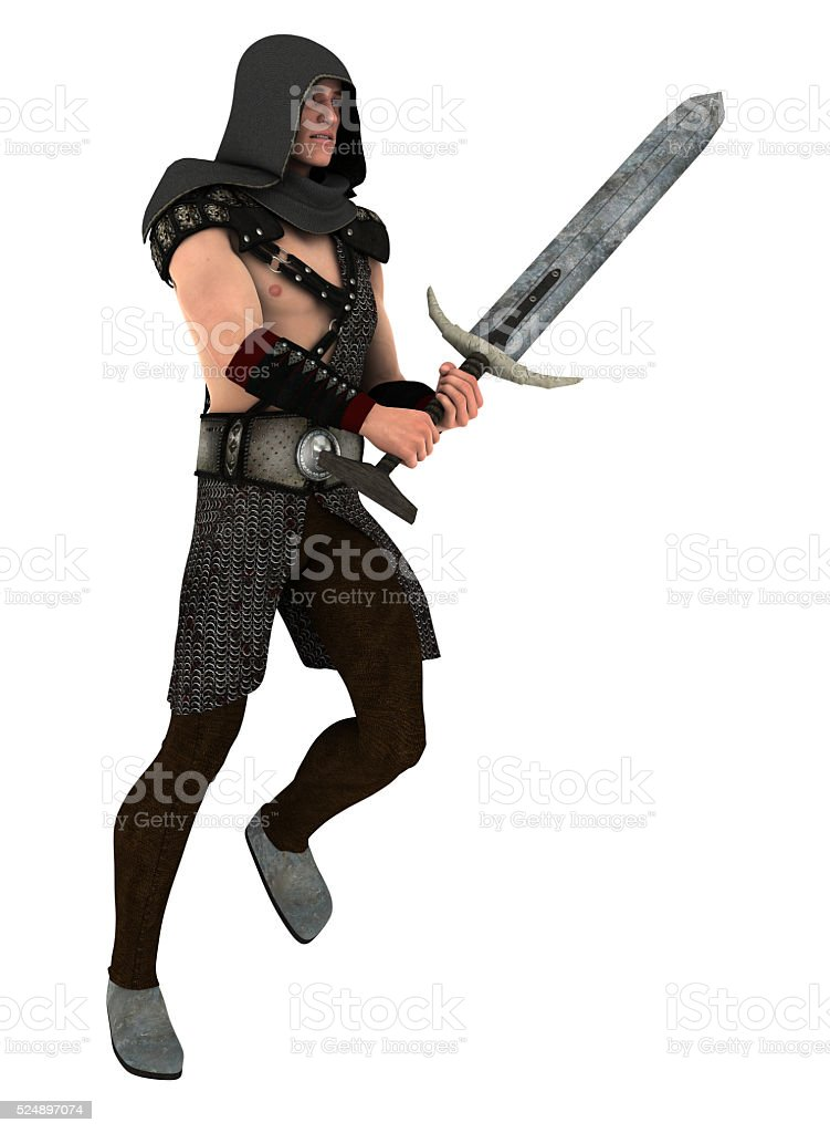 Guard Holding Sword stock photo