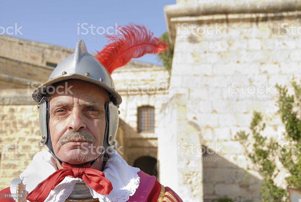 guard in front of fortress royalty-free stock photo