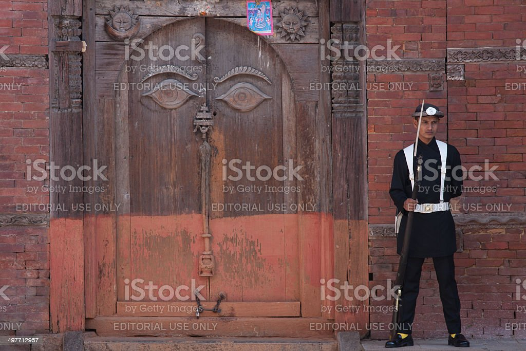 Guard In the courtyard of the Royal Palace Kathmandu, Nepal stock photo