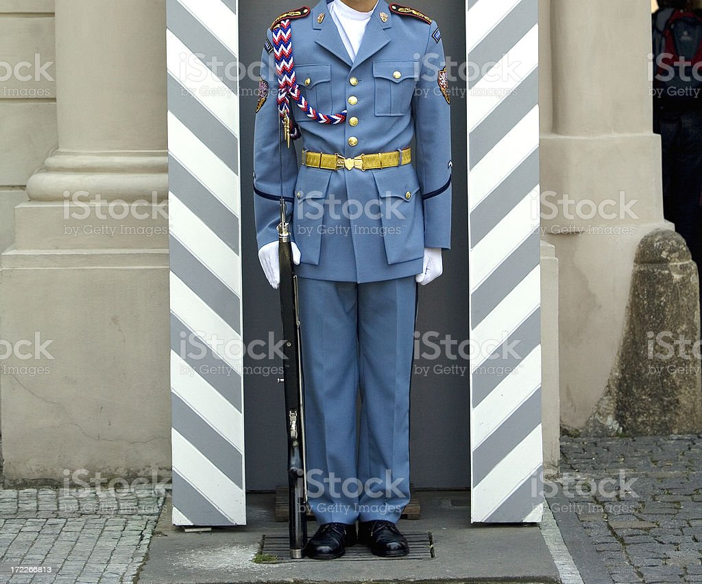 Guard in Uniform, Prague Castle, Czech Republic royalty-free stock photo