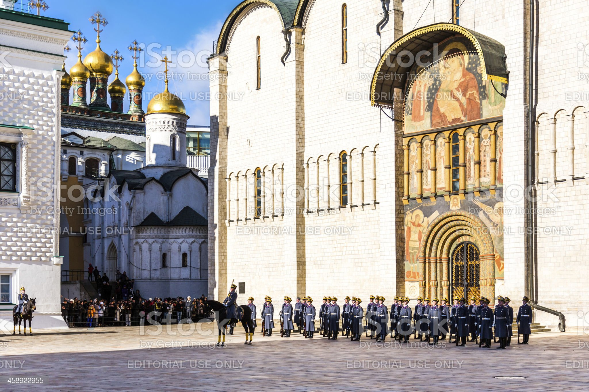 Guard mounting ceremony at the Kremlin in Moscow royalty-free stock photo