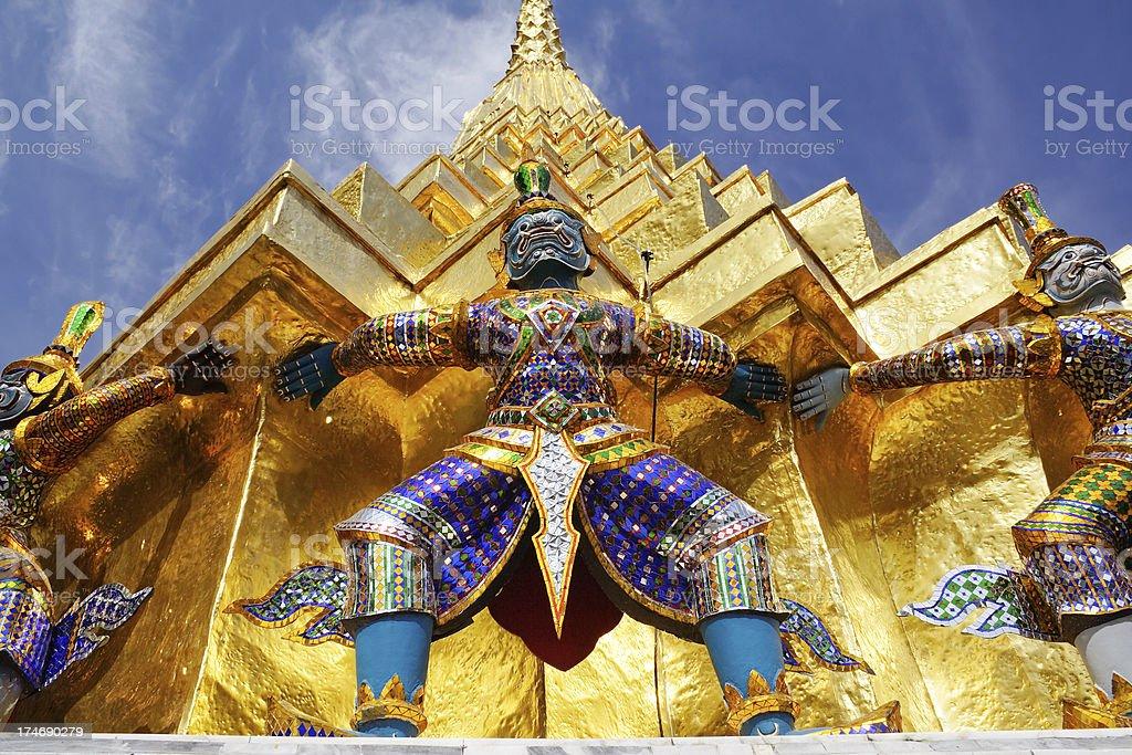 Guard of golden pagoda stock photo