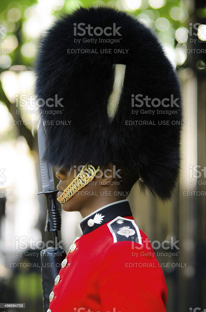 Guard outside Clarence House in London, England royalty-free stock photo