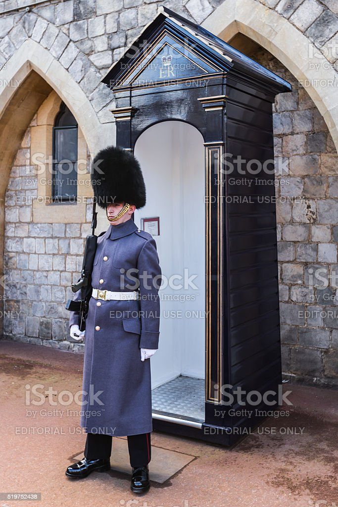 Guard outside Windsor Castle stock photo