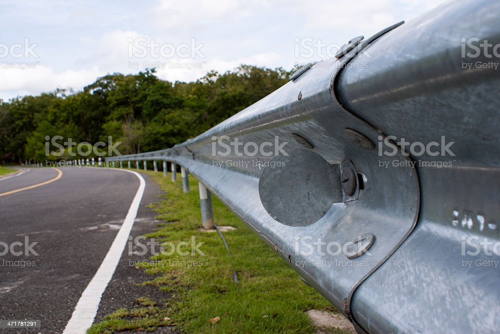Guard Rail Close Up by the road stock photo