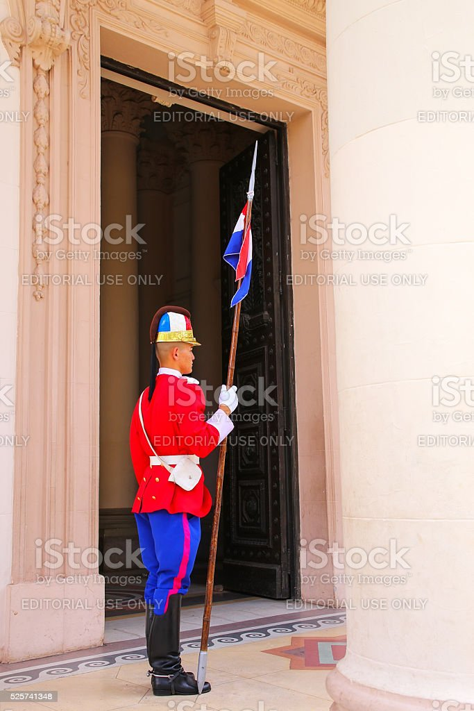 Guard standing by the entrance to National Pantheon stock photo