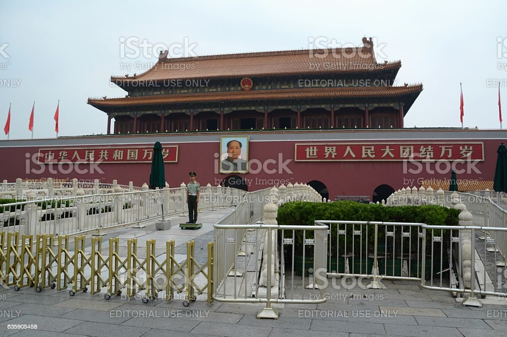 Guard standing in front of Tiananmen gate, Forbidden City stock photo