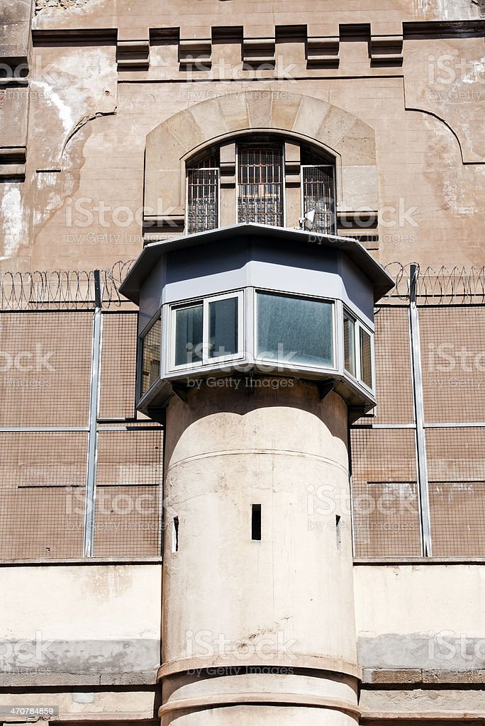 Guard tower and fence at Modelo Prison in Barcelona stock photo