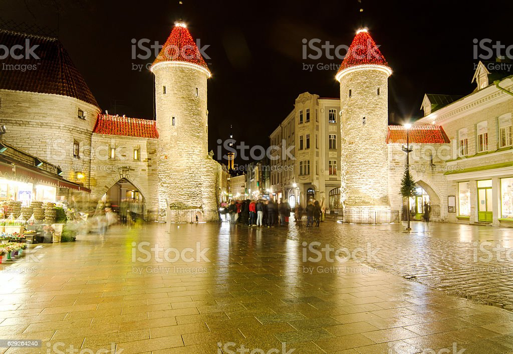 Guard Towers of Viru Gate at Christmas stock photo