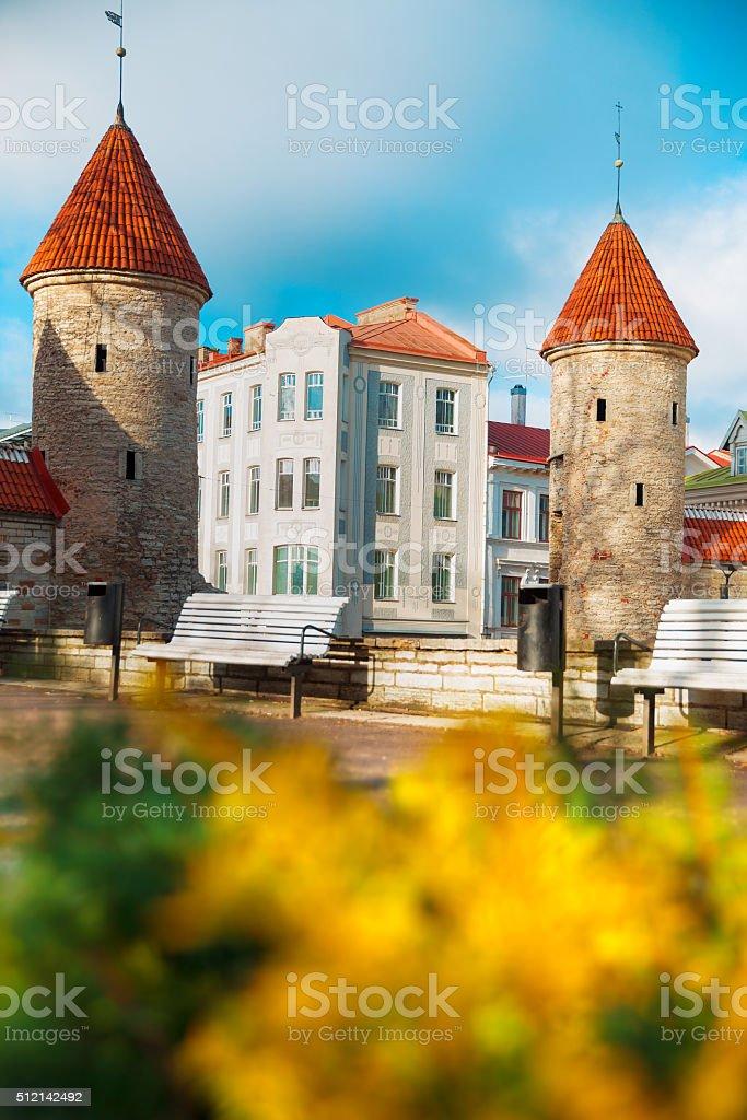 Guard towers of Viru Gate in Tallinn stock photo