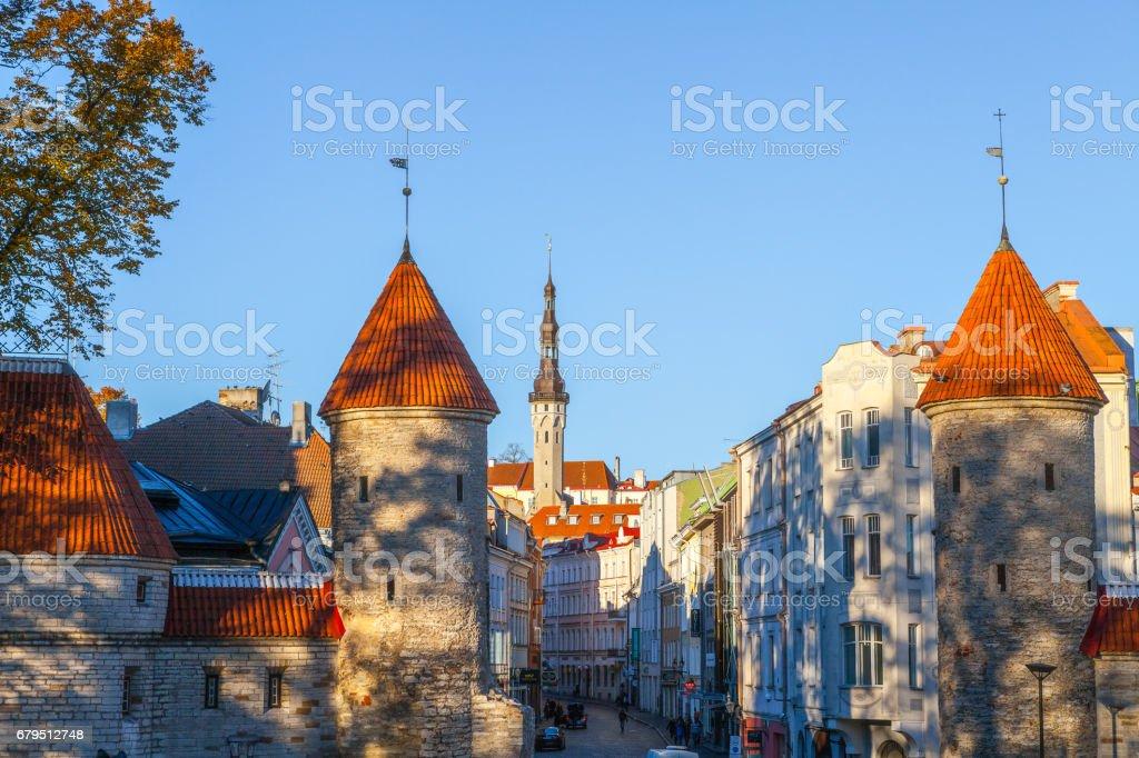 TALLINN, ESTONIA - 24 OKT 2015. Guard towers of Viru Gates stock photo