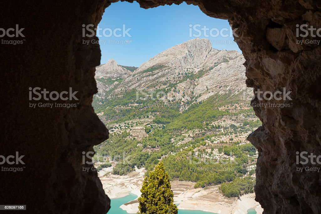 Guardalest, Spain ancient town with medieval castle ruins stock photo