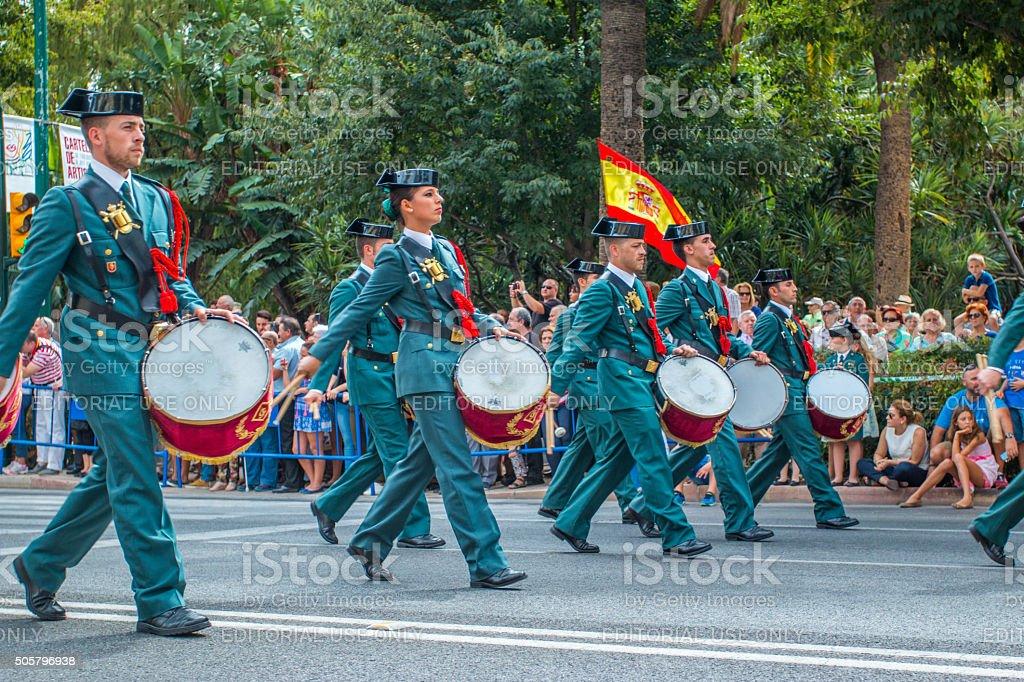 Guardia Civil Parade in Malaga, Spain stock photo