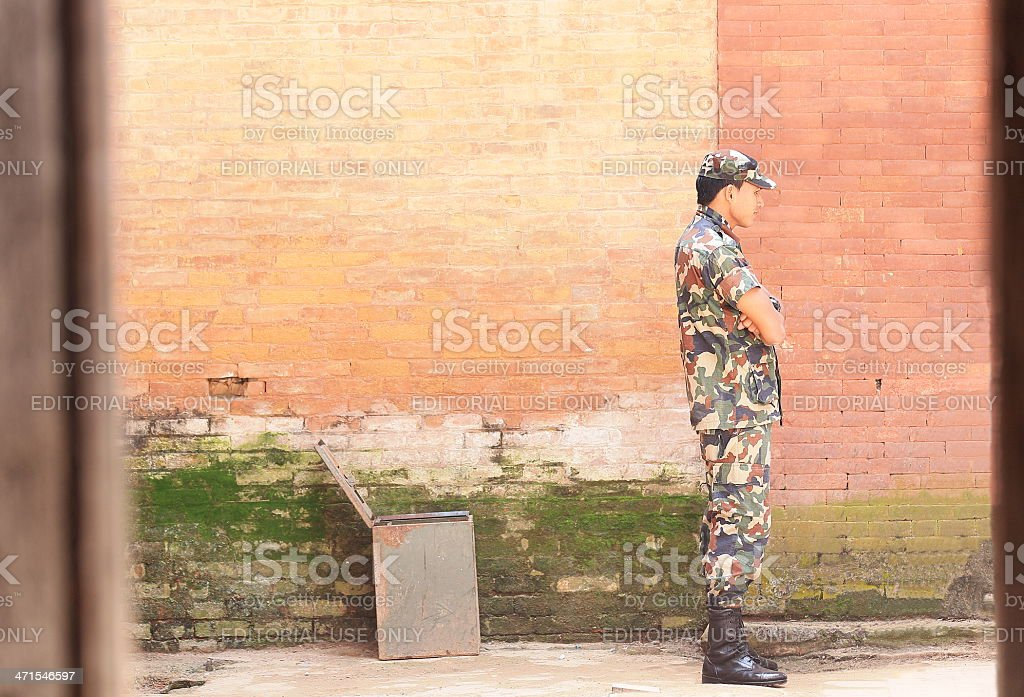 Guardian at the Golden Gate. Royal Palace-Bhaktapur-Nepal. 0258 royalty-free stock photo