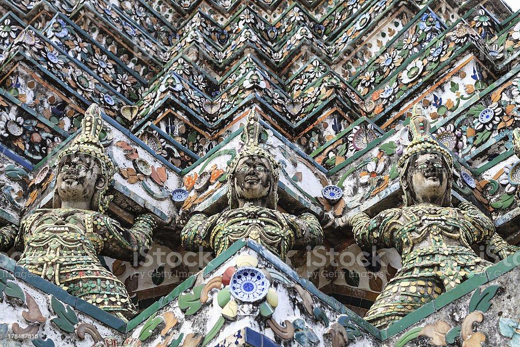 Guardian giant at wat arun, Bangkok, Thailand royalty-free stock photo