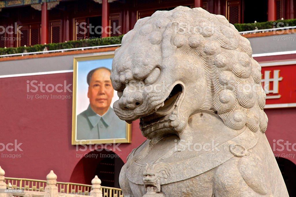 Guardian Lion Statue and Mao, Tiananmen, Beijing stock photo