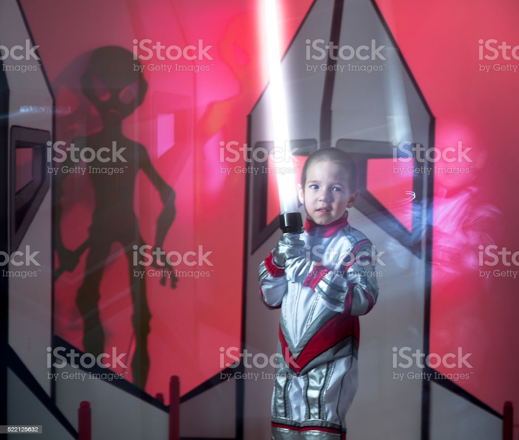 Guardian of Galaxy. Little Space Warrior stock photo