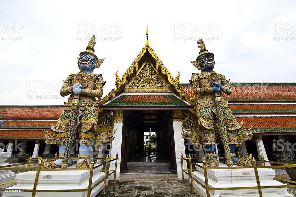 Guardian of Grand Palace in temple Bangkok Thailand stock photo