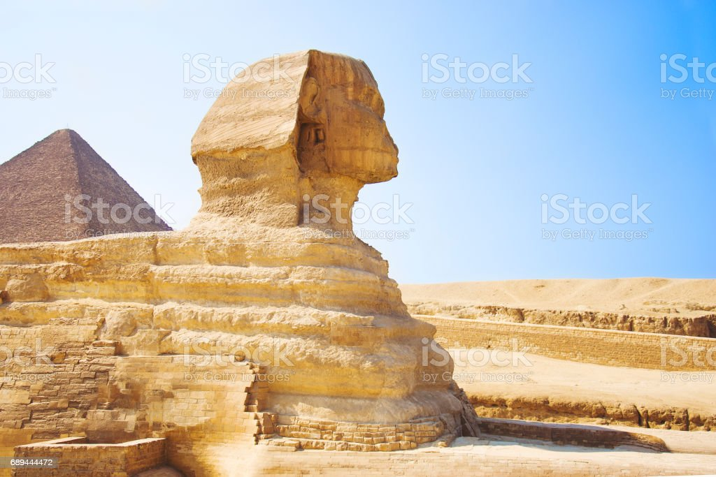 Guardian Sphinx guarding the tombs of the pharaohs in Giza. Cairo, Egypt stock photo