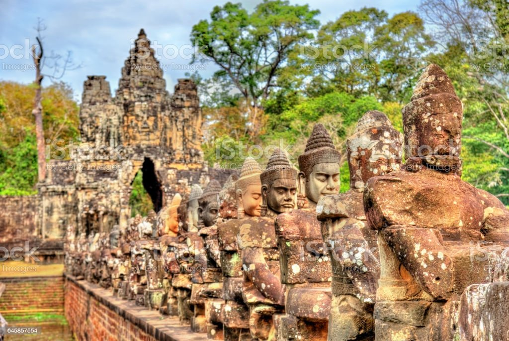 Guardians at the South Gate of Angkor Thom - Siem Reap, Cambodia stock photo
