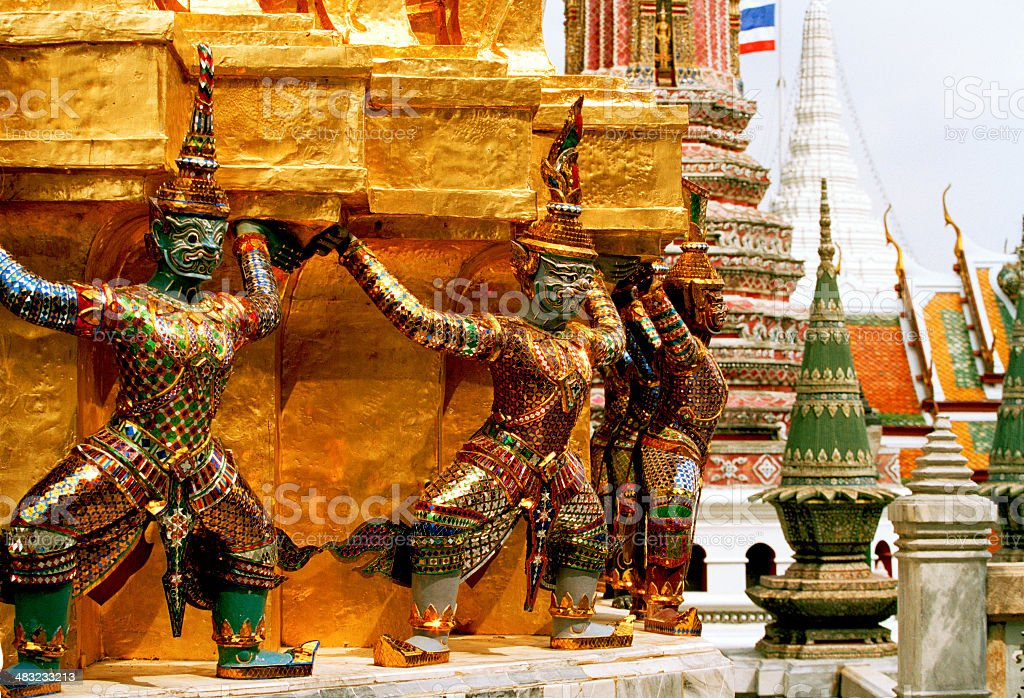 Guardians Surrounding Temple, Bangkok royalty-free stock photo