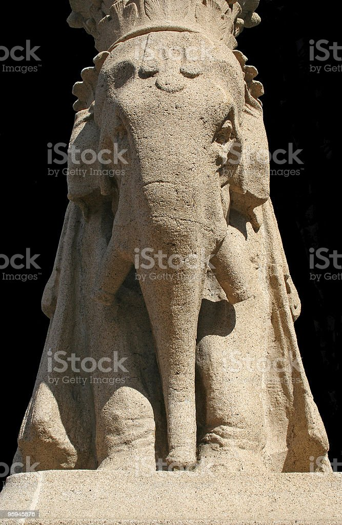 Guarding Elephant Sculpture Architecture royalty-free stock photo